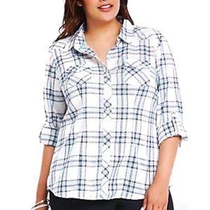 Torrid plaid button down Camp shirt roll up sleeve